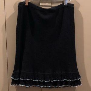 Black Beaded Betsey Johnson Skirt - NWT